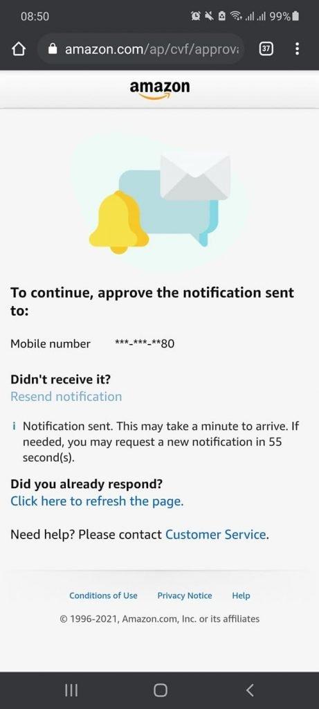 Fix lỗi không nhận được tin nhắn xác thực của Amazon vì login từ máy / mạng lạ